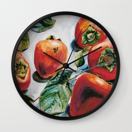Watercolor Persimmons With Leaves Wall Clock