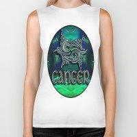 astrology Biker Tanks featuring Cancer Zodiac Sign Astrology by CAP Artwork & Design