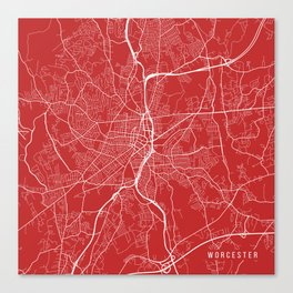 Worcester Map, USA - Red Canvas Print