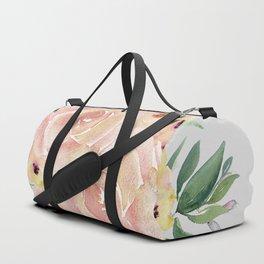 Wild Roses on Light Gray Duffle Bag