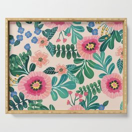 Colorful Tropical Vintage Flowers Abstract Serving Tray
