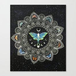 Lunar Moth Mandala with Background Canvas Print