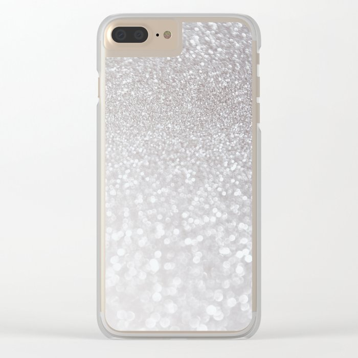 Silver ice - glitter effect- Luxury design Clear iPhone Case