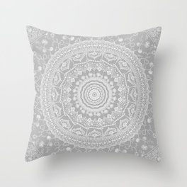 Secret garden mandala in soft gray Throw Pillow