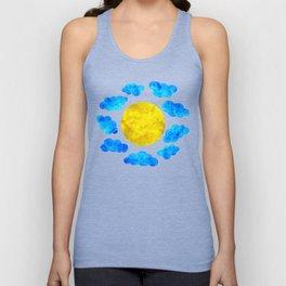 Cute blue cartoon clouds and sun. Unisex Tank Top