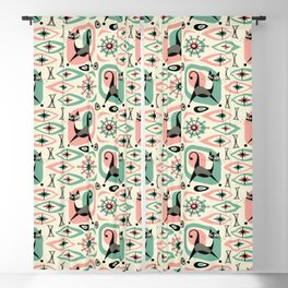 Mid Century Cat Abstract - Pink Aqua Blackout Curtain
