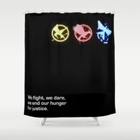 mockingjay Shower Curtains featuring Mockingjay Quote No. 2 by Thoughtless Ideas
