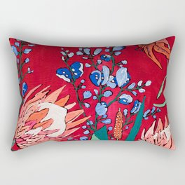 Red and Blue Floral with Peach Proteas Rectangular Pillow