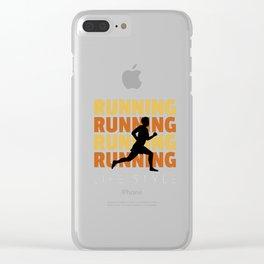 Hipster Style Running design - Runner Silhouette - Runner Tee Clear iPhone Case