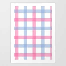 Pink and Blue Gingham Art Print