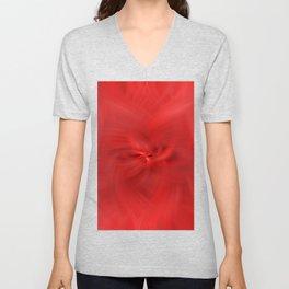 Red Floral Distortions Unisex V-Neck