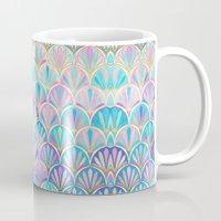 deco Mugs featuring Glamorous Twenties Art Deco Pastel Pattern by micklyn