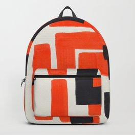 Harsh Mid Century Modern Line Pattern Ancient Aztec Ruins Orange Maze Pattern Black Accent Backpack