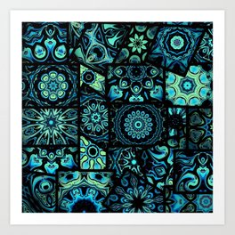 Patchwork in Blues Art Print