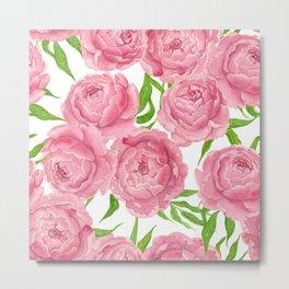 Pink peonies watercolor Metal Print