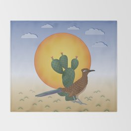 Soul of the Southwest - Roadrunner in the Desert Throw Blanket