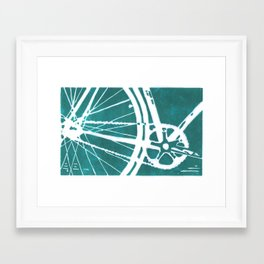 Teal Bike Framed Art Print