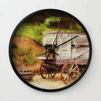 chuck Wall Clocks featuring Chuck Wagon by Mary Timman