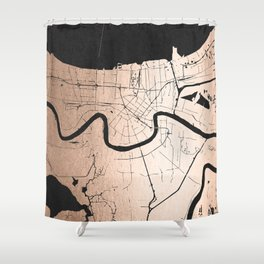 New Orleans Rose Gold and Black Map Shower Curtain