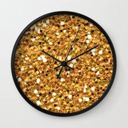 Gold Shimmer Macro Glitter Wall Clock