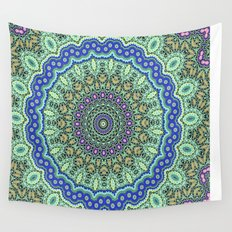 Lovely Healing Mandala  in Brilliant Colors: Purple, Black, Gold, Mint, and Sunset Yellow Wall Tapestry