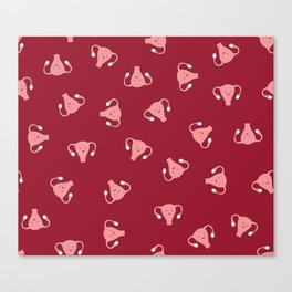 Crazy Happy Uterus in Red, Large Canvas Print