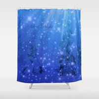 silent Shower Curtains featuring Silent Night by Alaskan Momma Bear