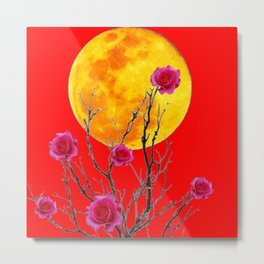 RED SURREAL FULL MOON & PINK WINTER ROSES Metal Print