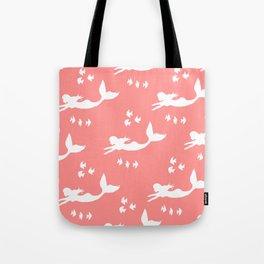 Mermaid Pattern Coral Pink Tote Bag