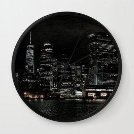 NYC Night Skyline 2015 Wall Clock