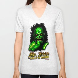 It's Horror Icon Mr. Frights...  The Halloween Head Haunter, The Great Green Ghoul! Unisex V-Neck