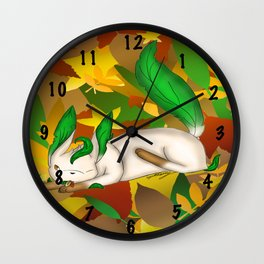 Playing with Leaves Wall Clock
