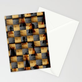 Wooden Chessboard and Chess Pieces  pattern Stationery Cards