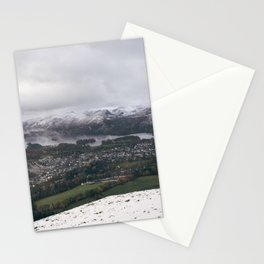 Views of Derwent Water and Keswick from Latrigg, covered in snow. Cumbria, UK. Stationery Cards
