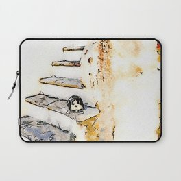 Cat on the steps of a staircase of the historical center of Tortora Laptop Sleeve