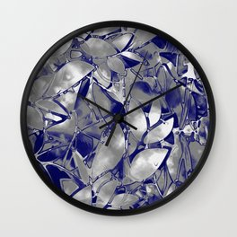 Grunge Art Silver Floral Abstract G169 Wall Clock