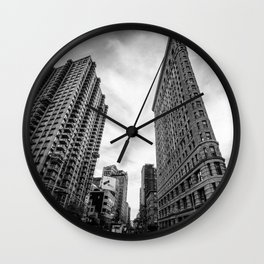 Flat Iron Building, Manhattan New York City Skyline black and white photograph by Marcela Wall Clock