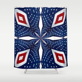 American Flag Kaleidoscope Abstract 3 Shower Curtain