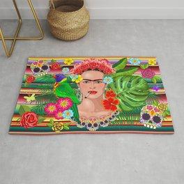 Frida Kahlo Floral Exotic Portrait Rug