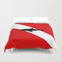 Diving Flag: Shark Duvet Cover