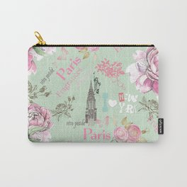 Vintage green pink floral collage typography Carry-All Pouch