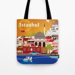 Istanbul, Turkey - Skyline Illustration by Loose Petals Tote Bag