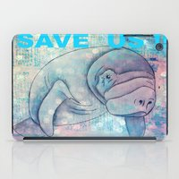 manatee iPad Cases featuring Whimiscal Manatee by Judy Skowron