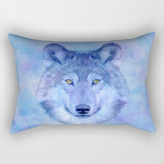Sky blue wolf with Golden eyes Rectangular Pillow
