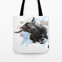 bull Tote Bags featuring bull by e12art