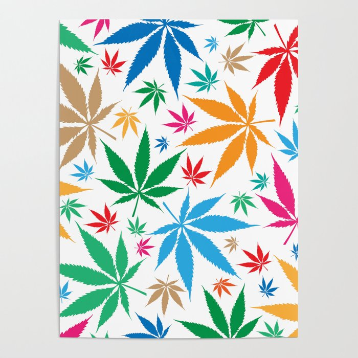 marijuana leaf color pattern Poster