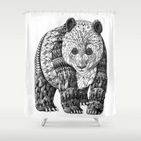 bioworkz Shower Curtains featuring Panda by BIOWORKZ