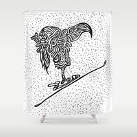 ski Shower Curtains featuring Ski Falcon by Launchpad Creations