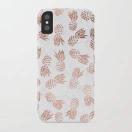 Modern faux rose gold pineapples white marble pattern iPhone Case