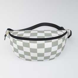 Large Desert Sage Grey Green and White Check Fanny Pack
